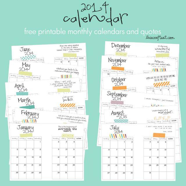 2014 Monthly Calendar - Free DIY Printable Calendar Pinterest