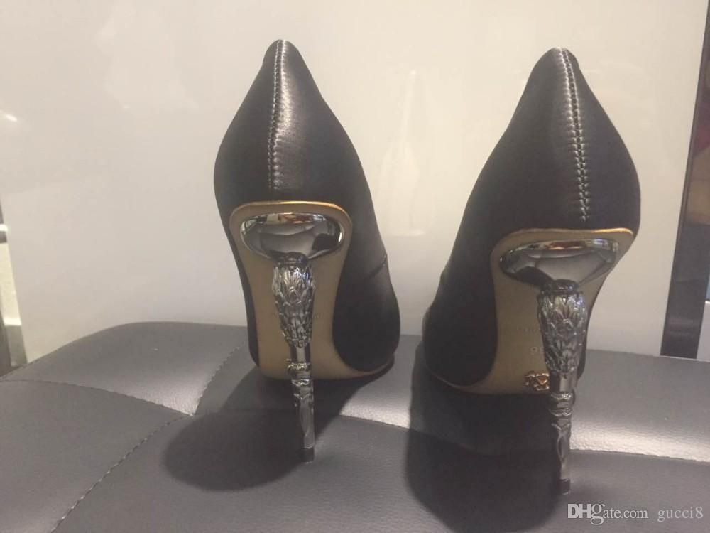 0b4445f4df2 Ralph   Russo Shoes Woman High Heel Pumps Sexy Black Thin High Heels  Pointed Toe Women ...