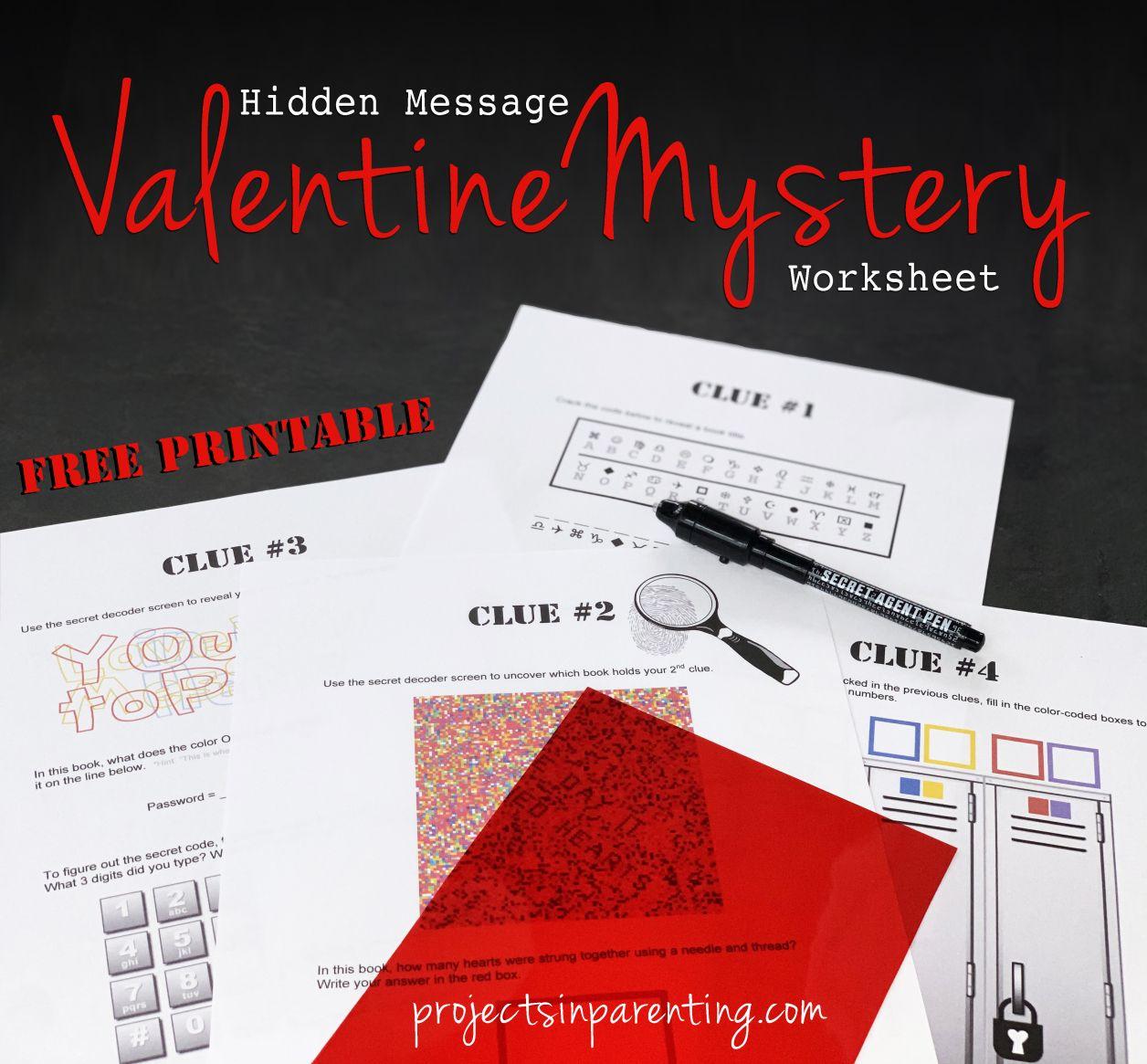 Hidden Message Valentine Mystery Worksheet In