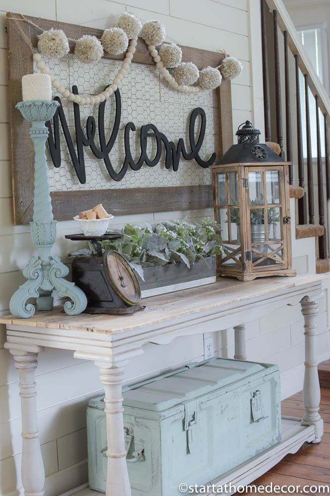 Welcome to our home entry on a budget decor entryway - Beach house decorating ideas on a budget ...