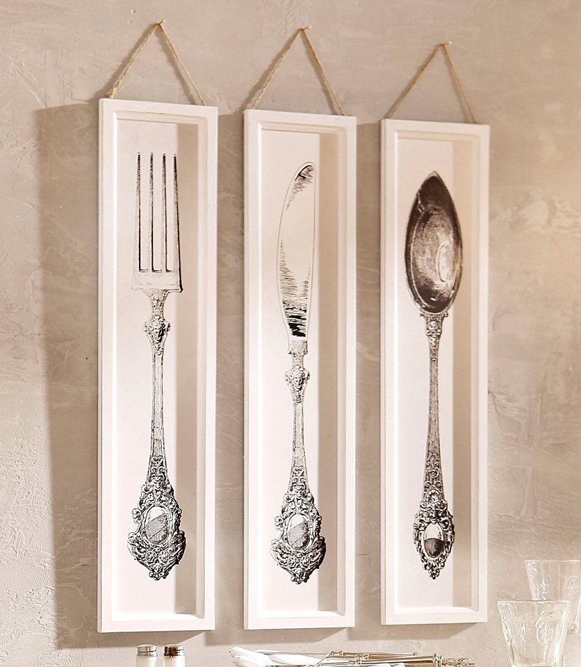 home affaire wandbilder besteck 3 tlg besteck wandbilder und wanddekoration. Black Bedroom Furniture Sets. Home Design Ideas