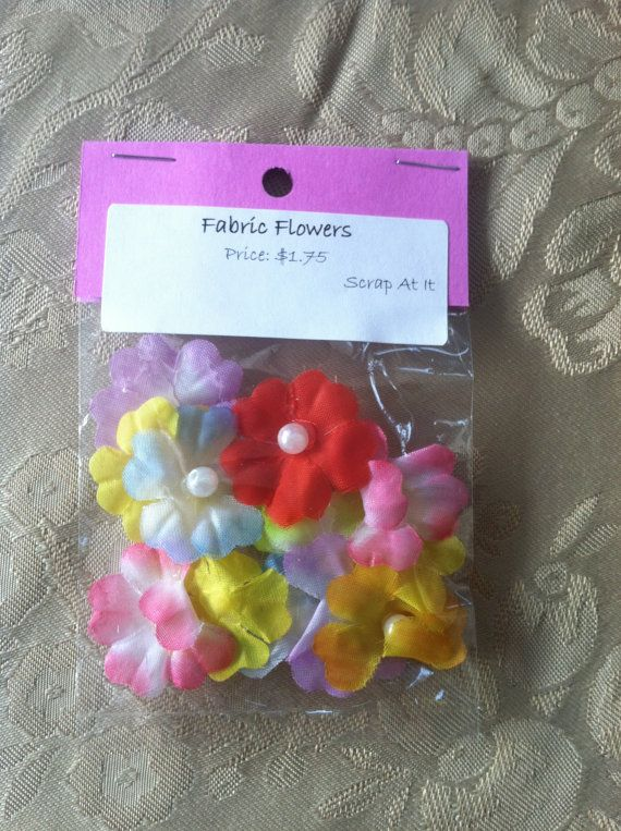 Fabric Flowers with Pearl Centers on Etsy, $1.75