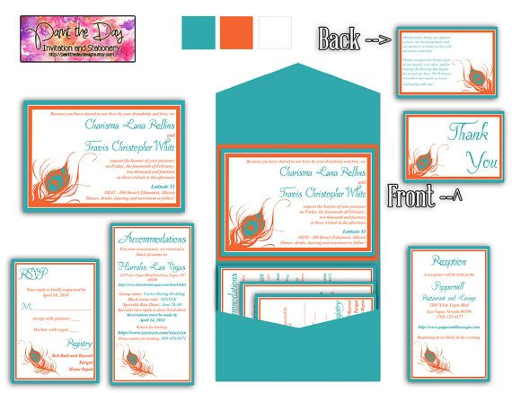Peacock Feather 5x7 Wedding Pocketfold Microsoft Word Template - microsoft word thank you card template