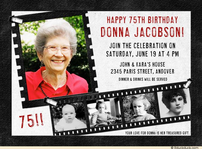 Ideas about 75th birthday invitations on pinterest 60th birthday