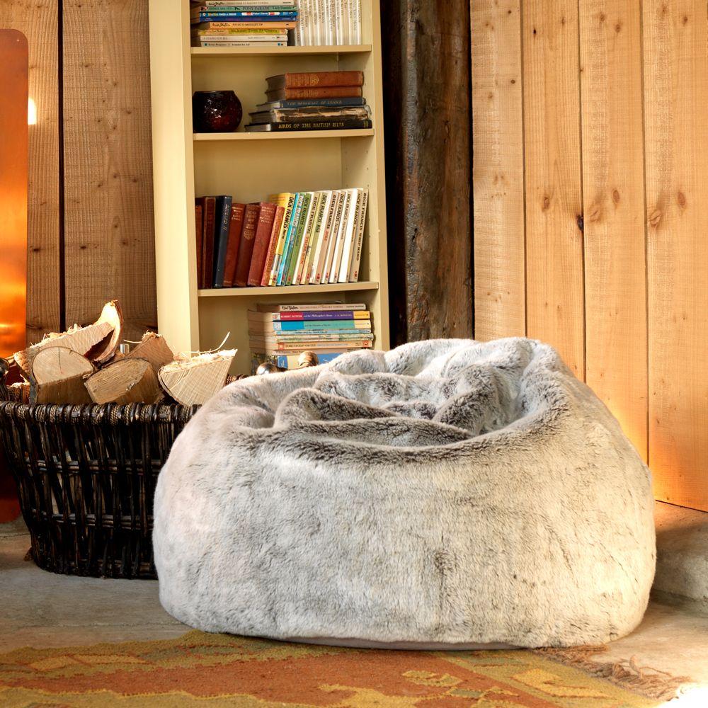 Large Children/'s Bean Bag Chair Luxury Faux Fur Kids Beanbag Arctic Wolf Grey