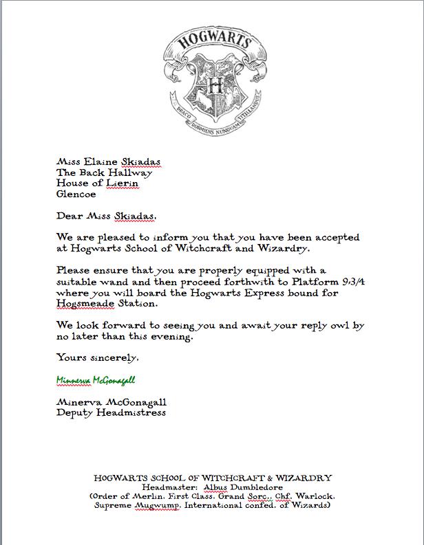 Hogwarts Acceptance Letter  Harry Potter Bday Party Ideas