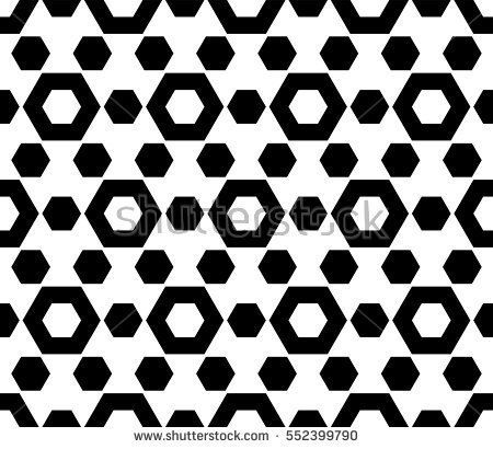Vector Monochrome Seamless Pattern Simple Geometric Texture With Hexagonal Shapes Repeat Tiles Endless