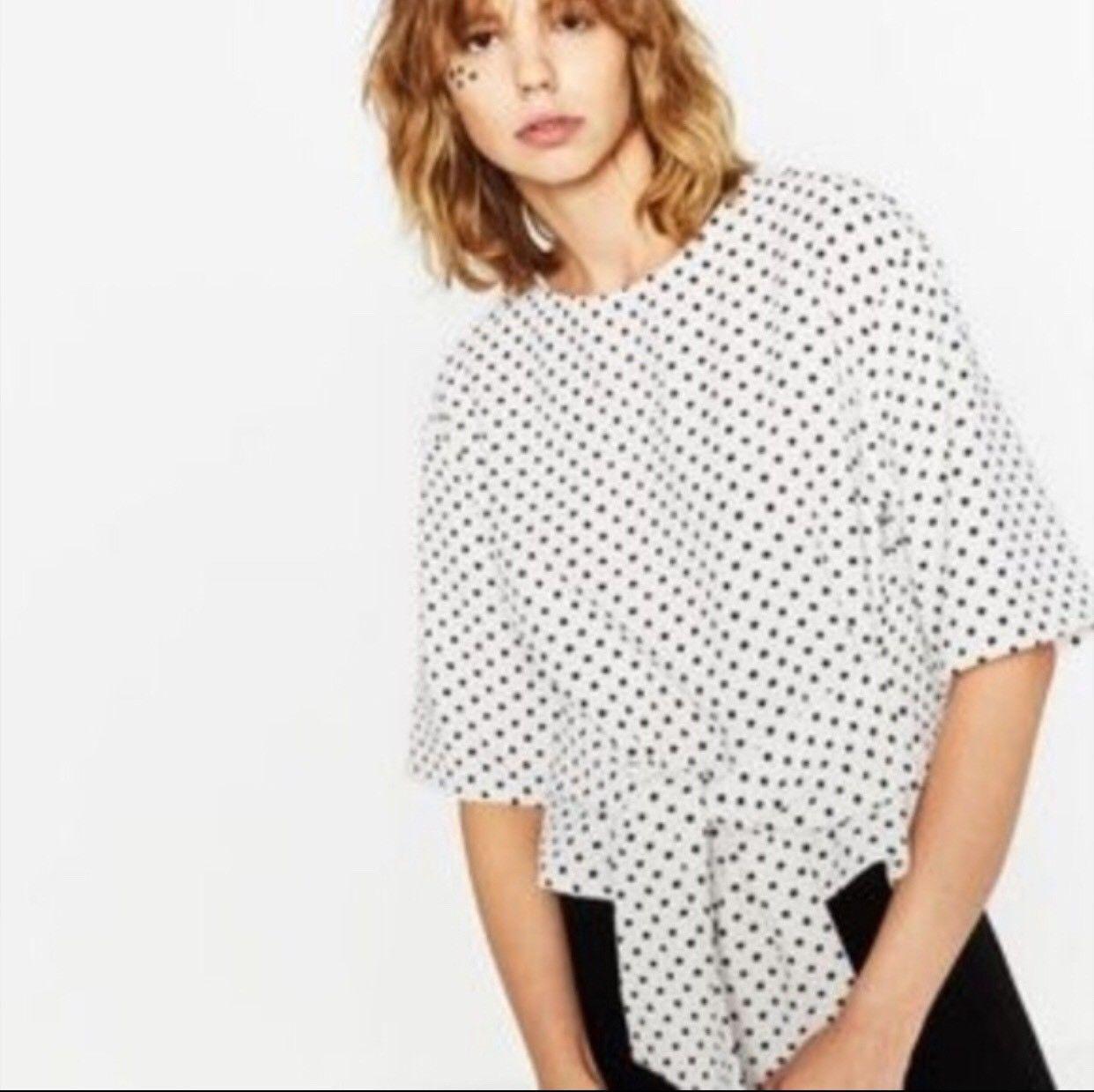 905a7c2e010aca 19.99 USD | zara polka dot tie front top size XS | #shirt #warehouse ...