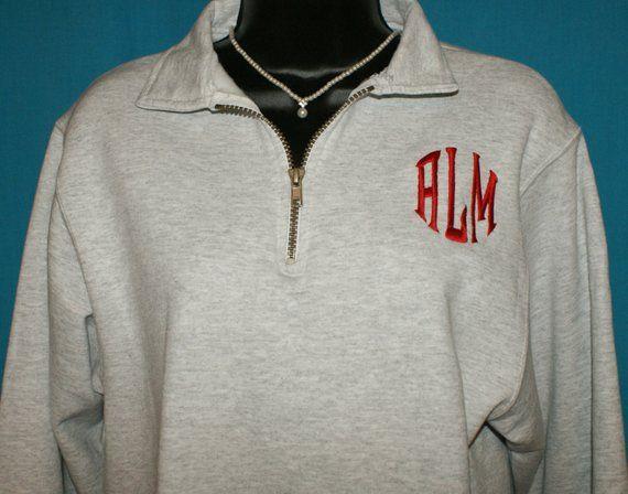 Monogrammed Sweatshirt 1 4 Zippered Fleece Sweater Personalized Pullover  Sweat bf0e0d141