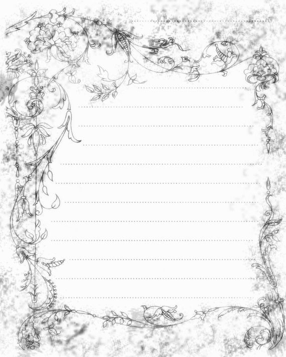 Printable Journal Page, Filigree Swirls Paper, Digital Lined - lined writing paper
