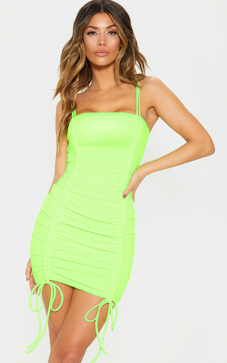 Neon Lime Ruched Front Strappy Bodycon Dress | Bodycon dress, Neon dresses,  Women dress online