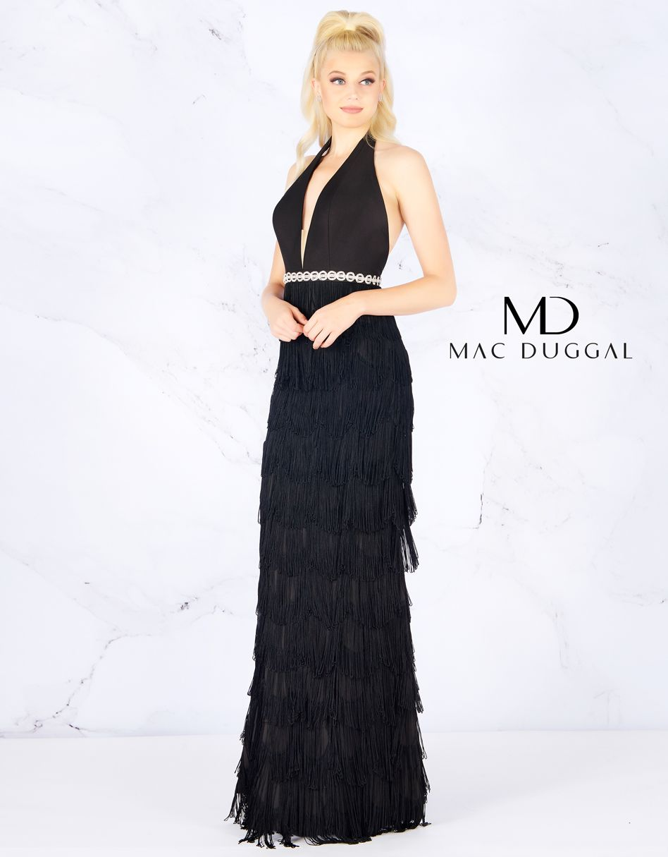 edee8c8a87 Mac Duggal Black Prom Gown with Fringe Skirt. The roaring 20 s are calling  and want an upgrade to the 21st century. Firm jersey V-Neck bodice