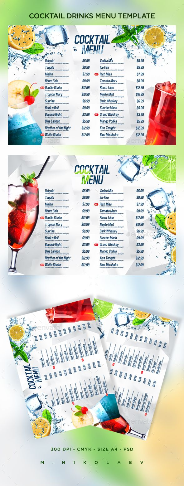 cocktail drinks menu v8