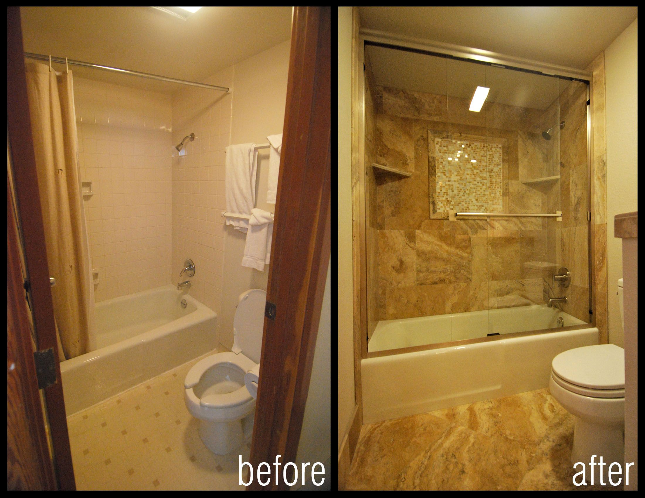 Before and after images of bathroom shower remodels for Bathroom remodel design ideas