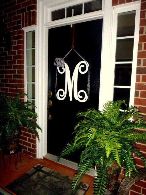 Letters To Hang On Front Door Part - 22: Initial Monogram Front Door Wreath W/ Ribbon, 25 Colors Choices U0026 Ribbon  Choices, Double Door Wreath, Front Door Letters,