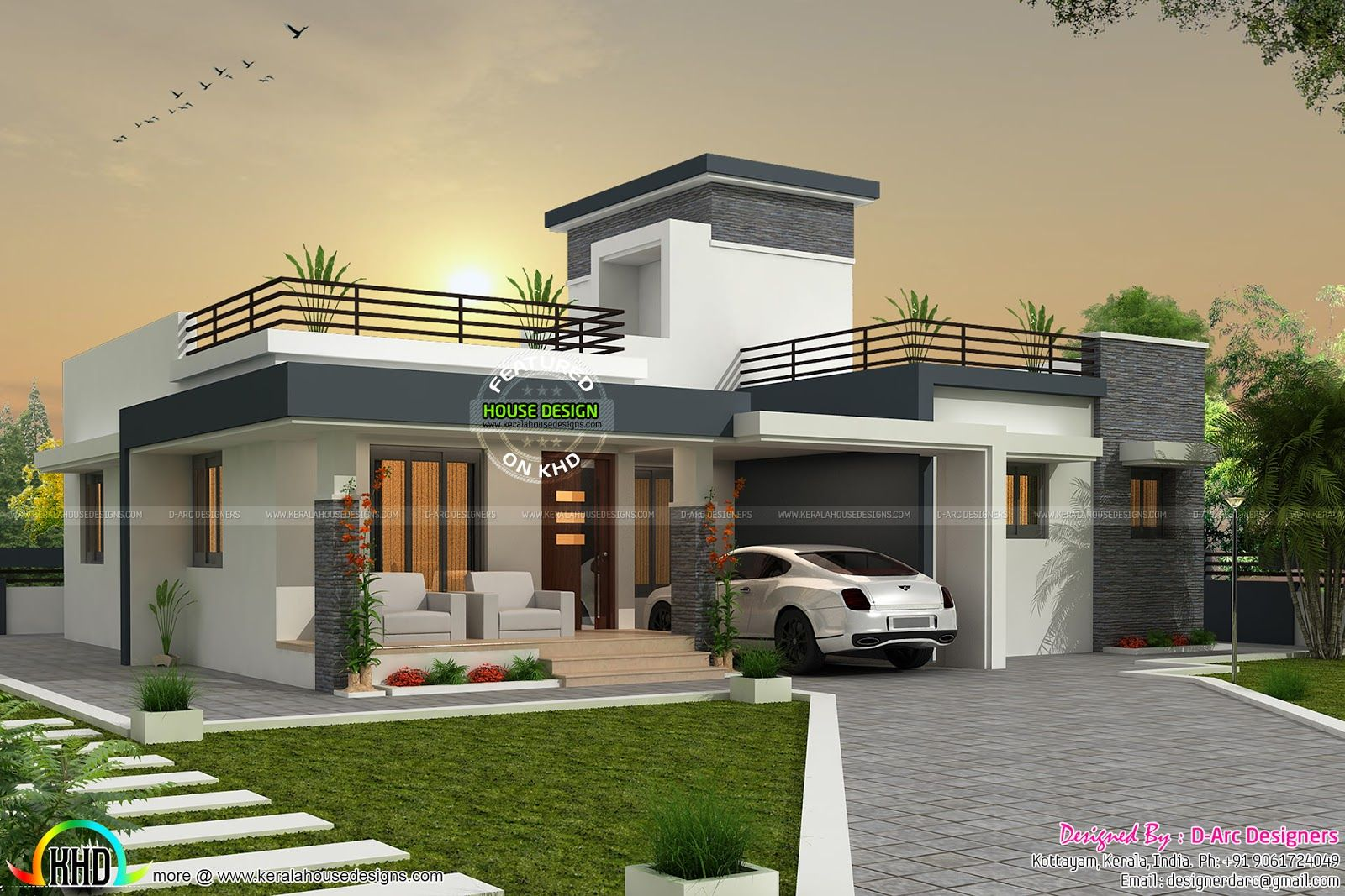 Bhk Contemporary Box Type Home Kerala Design And Floor Plans House Plan Variations With Ground Ranged Along The