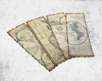 Antique map bookmarks vintage style travel themed party favors antique map bookmarks vintage style travel themed party favors world map bookmarks travel gift set of 4 gumiabroncs Choice Image