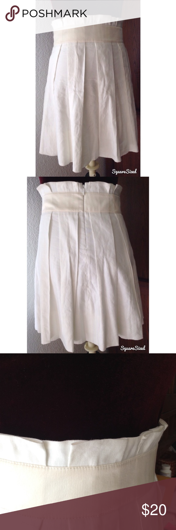 6e69b994c Bebe ivory high waisted pleated short skirt Cute linen cotton ivory off  white high rise above the knee pleated skirt with back zipper closure.satin  ...