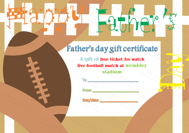 Fathers Day Gift Certificate Template Football Theme – Football Certificate Template