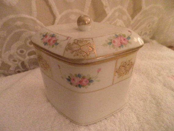 Antique Porcelain Nippon Ladies Humidor. Diamond by karensnook