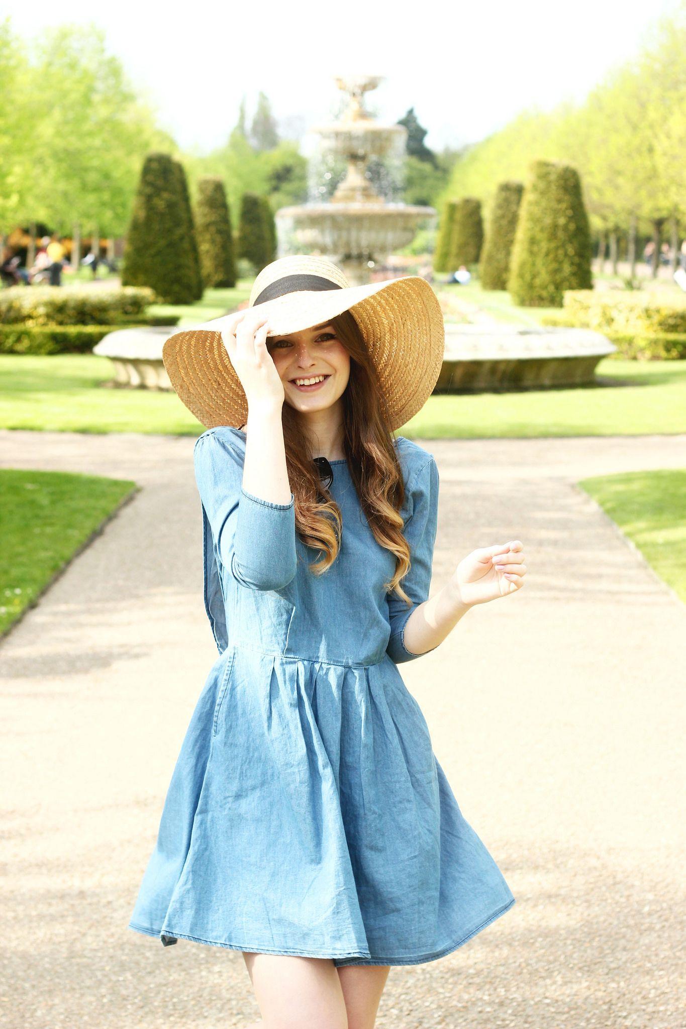2dcba125ed4960 Spring Denim smock floppy straw hat outfit in 2019   style   Fashion ...