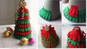 rbol de navidad con cintas de tela