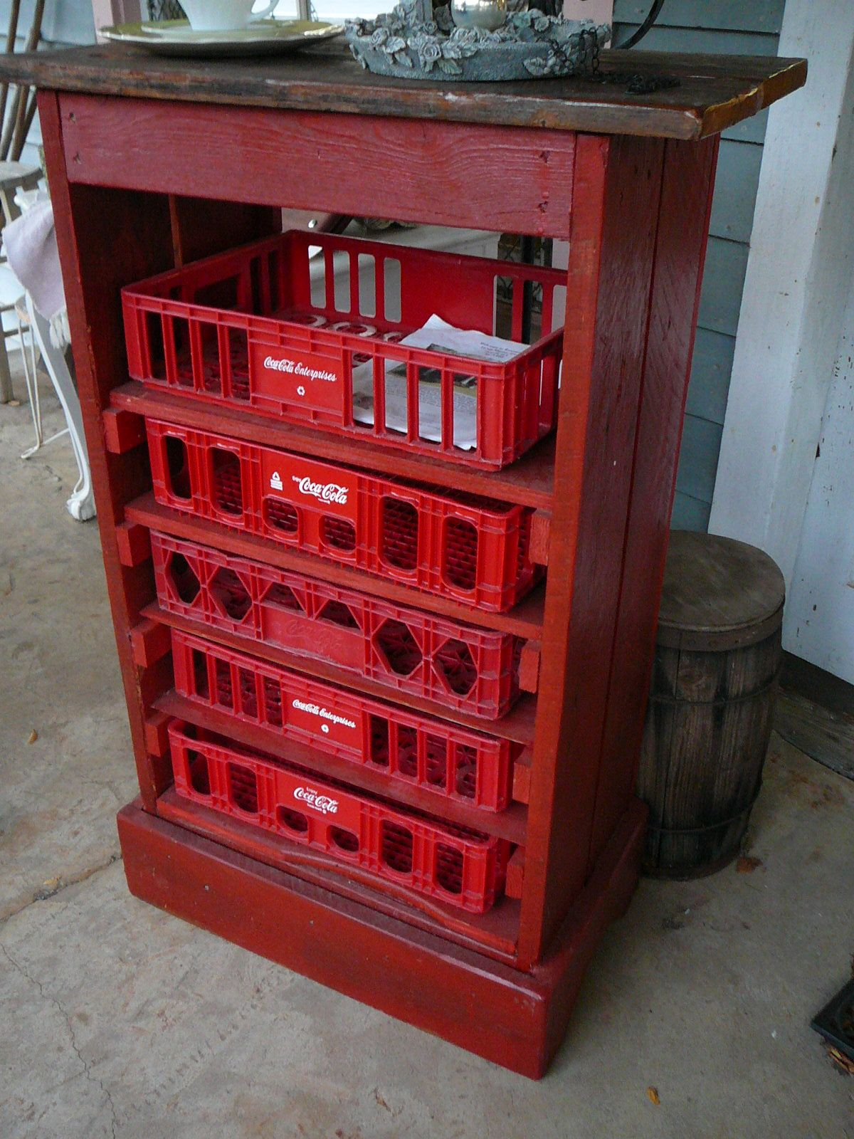 I have lots of coke crates this is a perfect use for them for Milk crate crafts