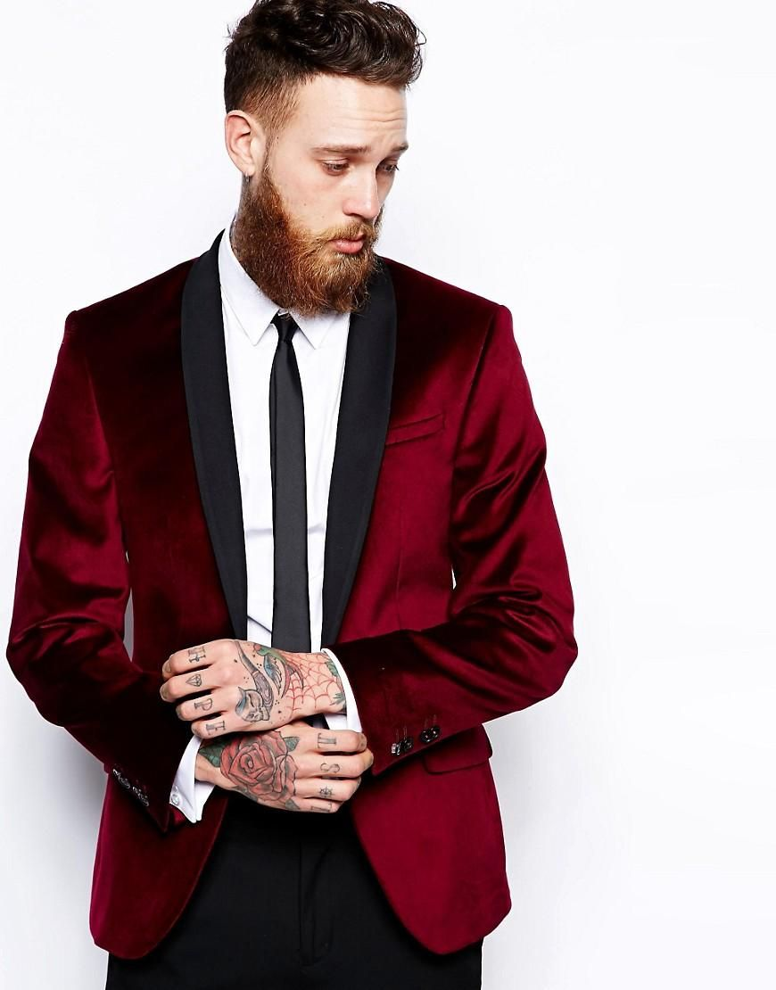 Red Eleven Velvet Jacket At Asos Com Velvet Suit Jacket Mens Formal Wear Mens Black Dress