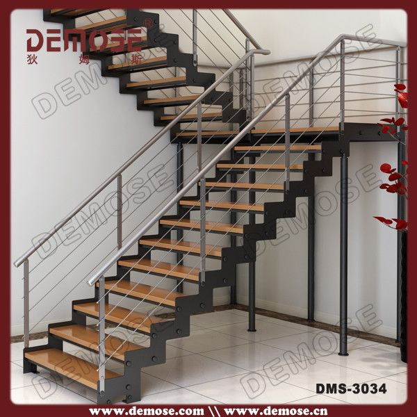 Customized Wood Tread Stainless Steel Stair Stringers ...