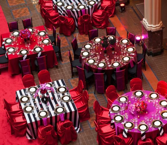Black White Stripe Tablecloth Hot Pink And Red Decor Red Chair