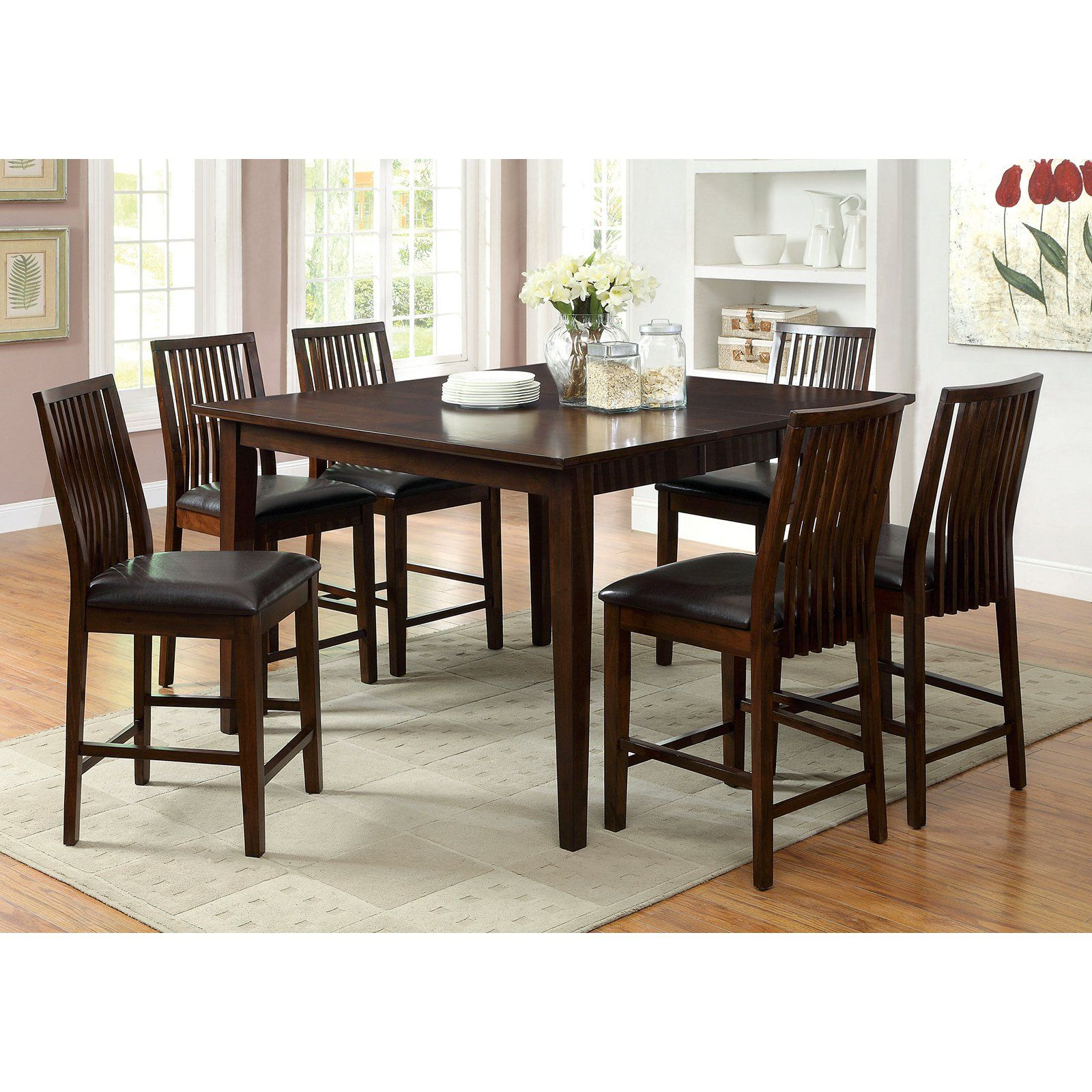 Furniture of America Alliani 7-Piece Counter Height Dining Table Set ...