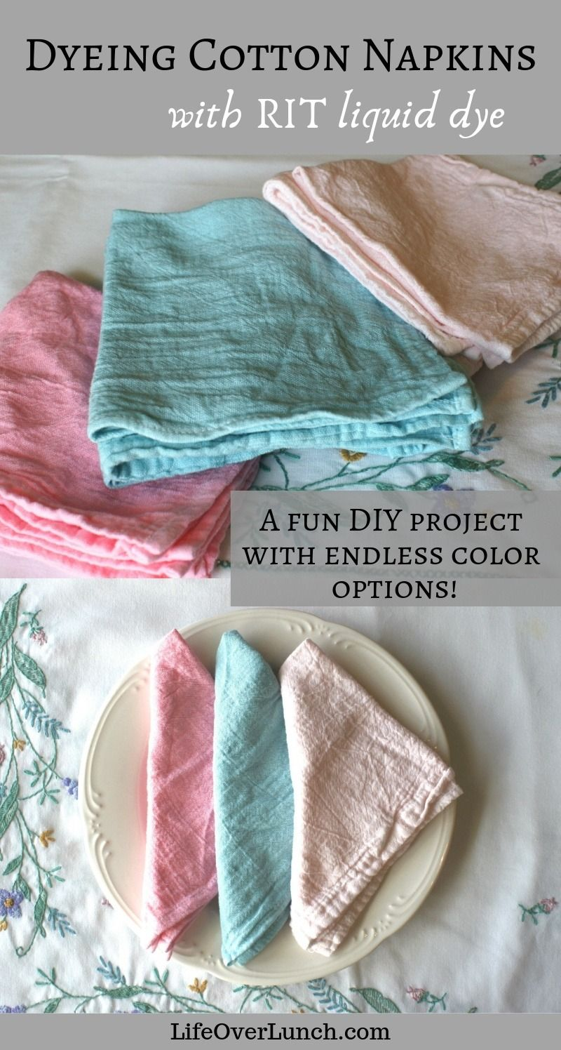 Dyeing Cotton Napkins Cotton napkins, How to dye fabric