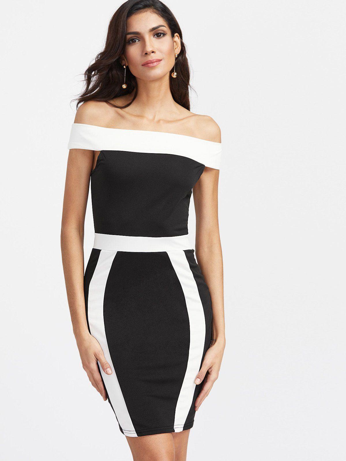 Color block off the shoulder sheath dress color blocking short