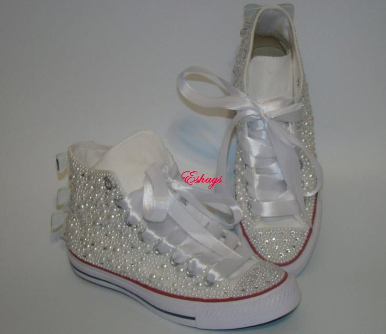 Pearl Crystal Silver Sequin Bow Converse Wedding Prom Sneakers ... fda63a9a3