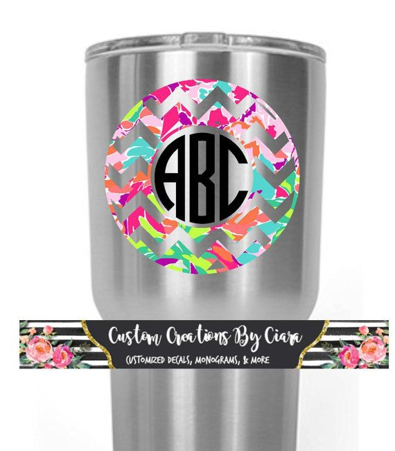 Lilly Inspired Chevron Frame Monogram Decal Vinyl Decal Lilly - Custom vinyl decals for laptop
