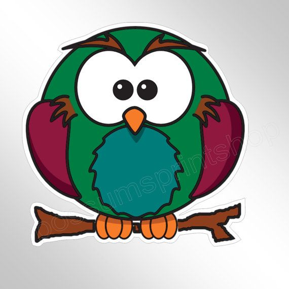 Handsome Green And Blue Owl Sticker Decal  Cute And Funny