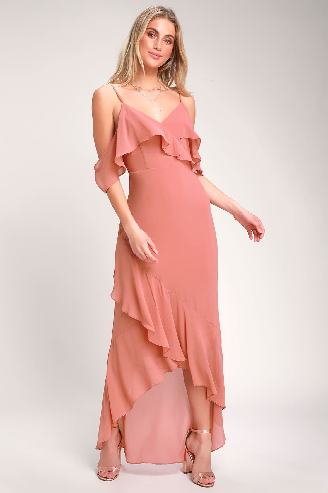 e8933fc25cd Lovely Rusty Rose Dress - Off-the-Shoulder Dress - Maxi Dress