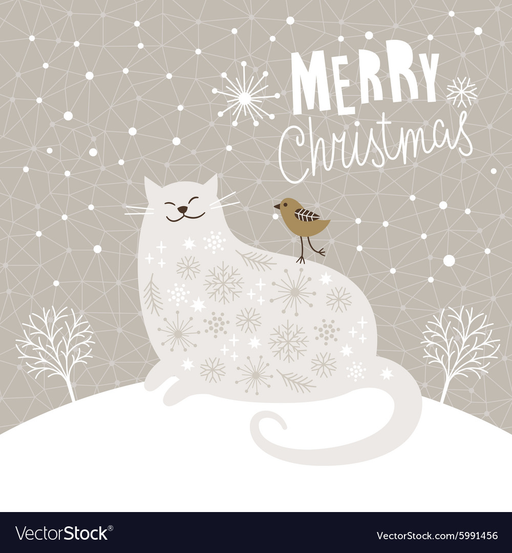 Christmas Card With Big Cat And Little Bird Vector Image On Vectorstock Christmas Cats Little Bird Christmas Vectors