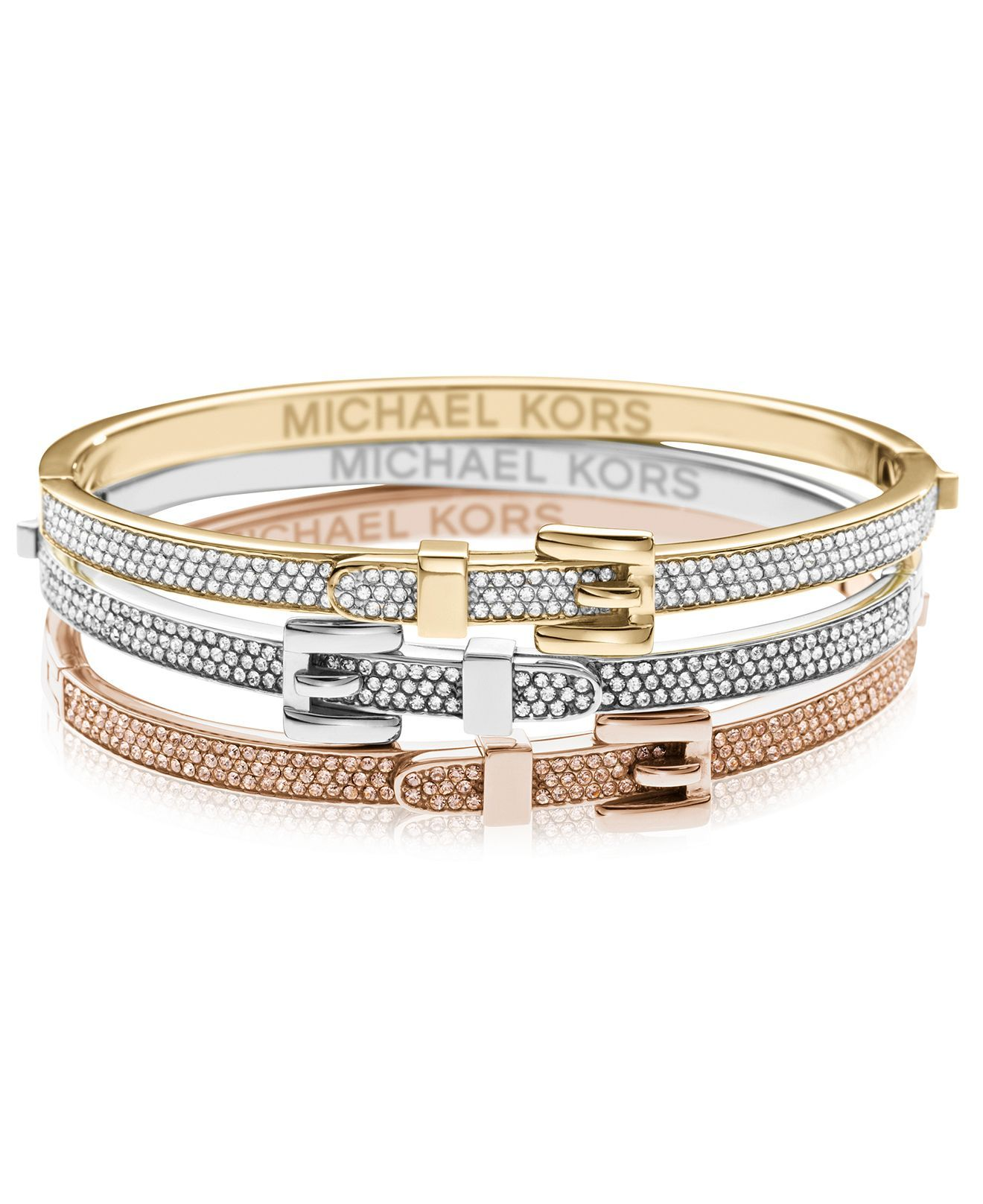 Michael Kors Bracelet Tri Tone Bundle Glitter Belt Buckle Bangle Bracelets