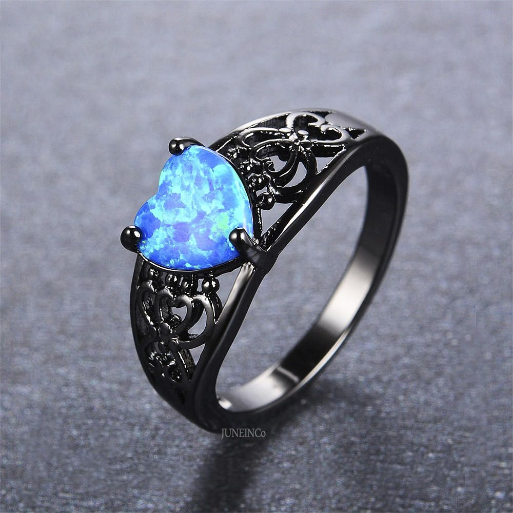 Blue Opal Heart Ring - Black Gold Ring - Wedding Band ...