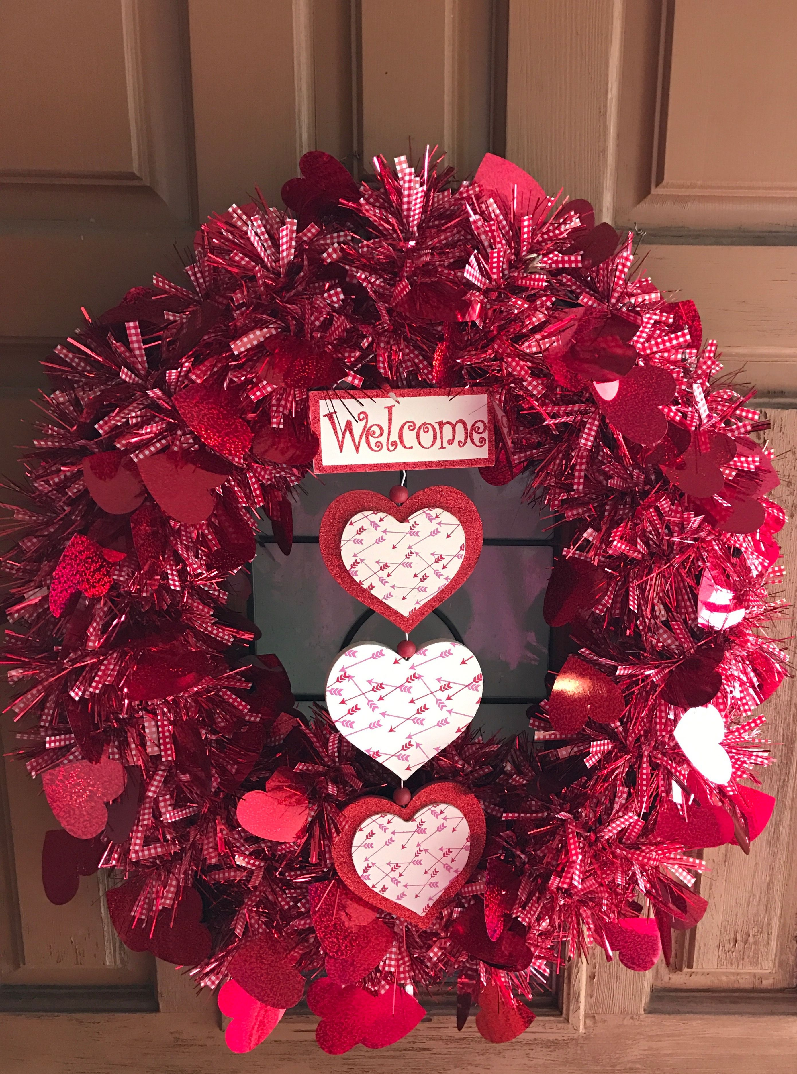 February Wreath Red Foil And Plaid Garland 2ea With Red Foil