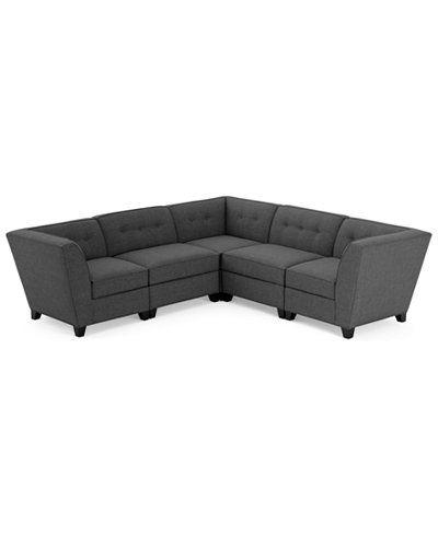 Harper Fabric 5-Piece Modular Sectional Sofa