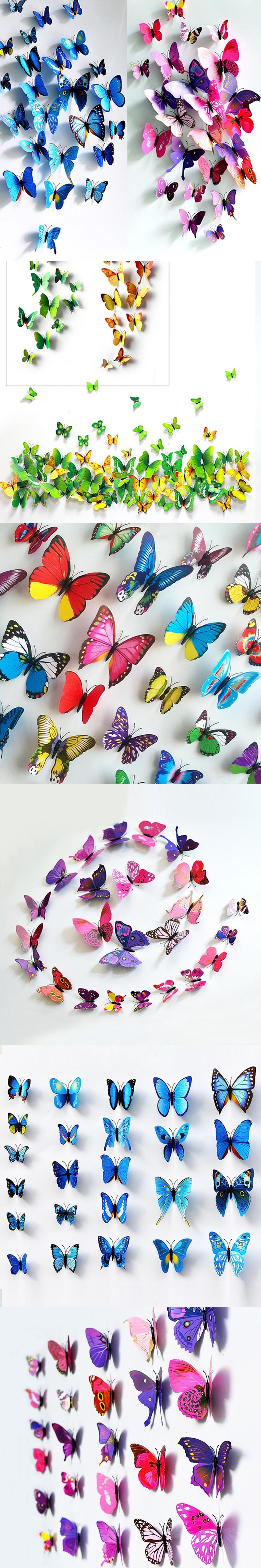 3d butterfly mural wall sticker decor decal pop up stickers art - 12pcs Pvc 3d Butterfly Wall Decor Cute Butterflies Wall Stickers Art Decals Home Decoration