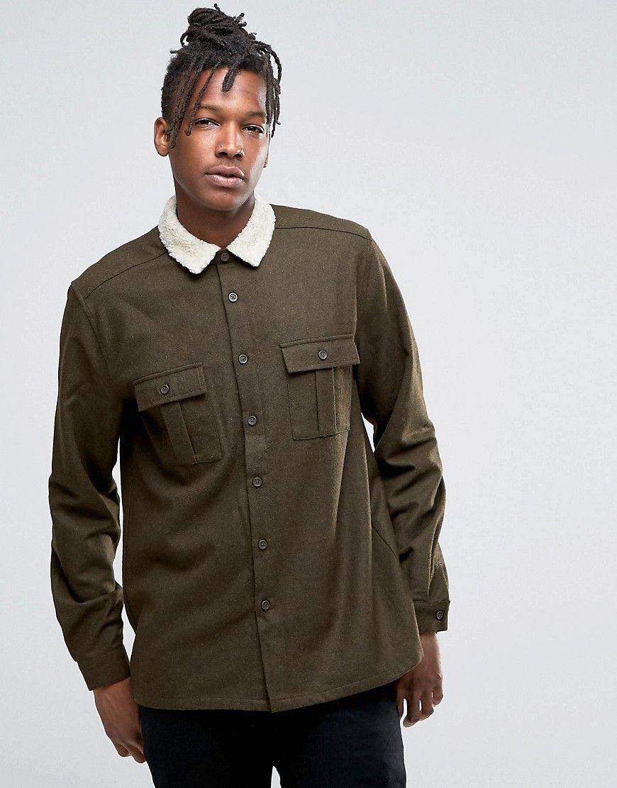 1b08ffa76a ASOS Overshirt With Fleece Collar In Khaki - Green