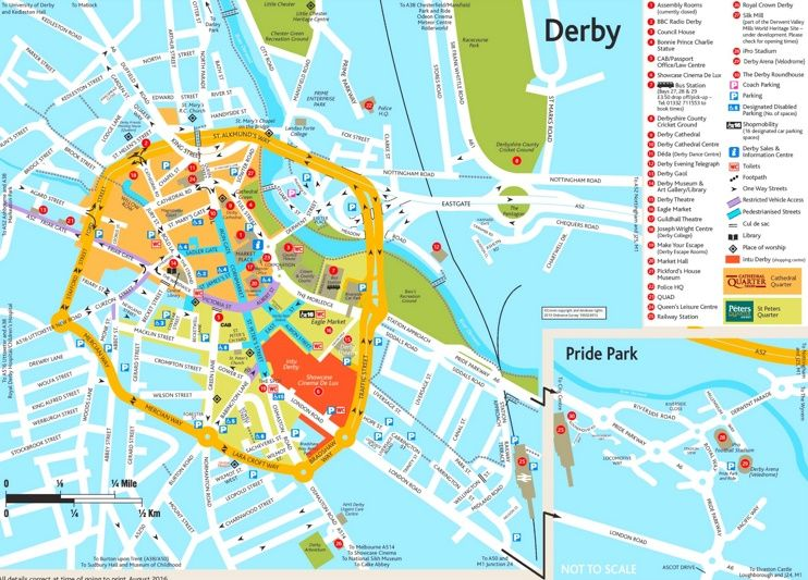 Derby tourist map Maps Pinterest Tourist map and City