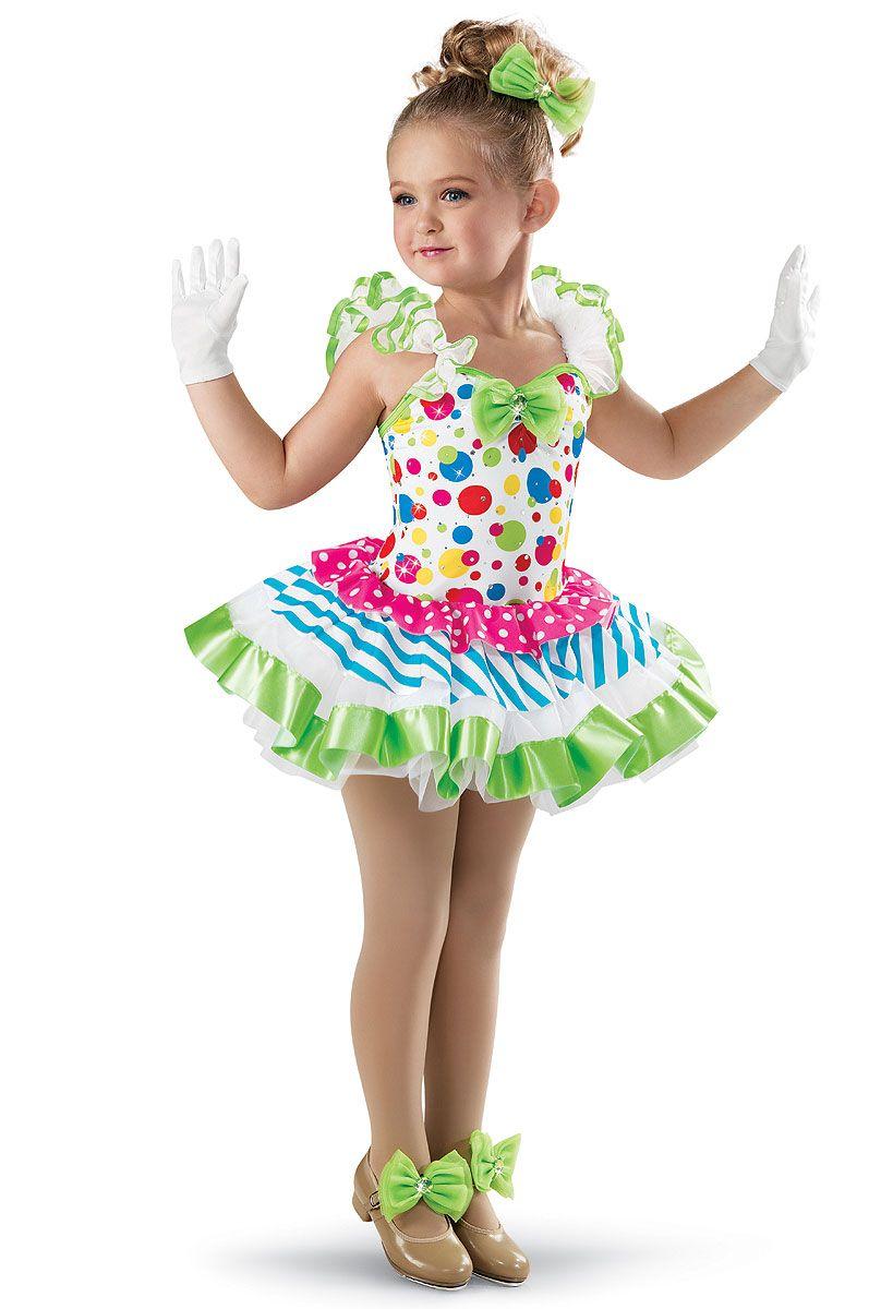 Dot Printed Tiered Skirt Dress Weissman Costumes Vestidos