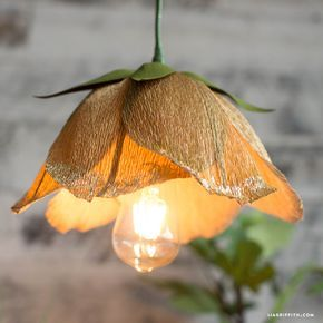 Photo of Make a Gorgeous DIY Flower Pendant Light with Crepe Paper