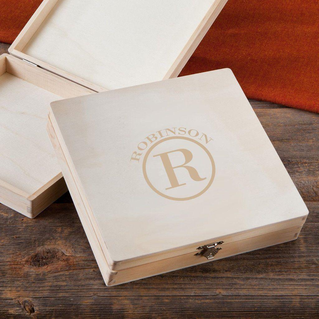 Monogrammed Wooden Keepsake or Cigar Box