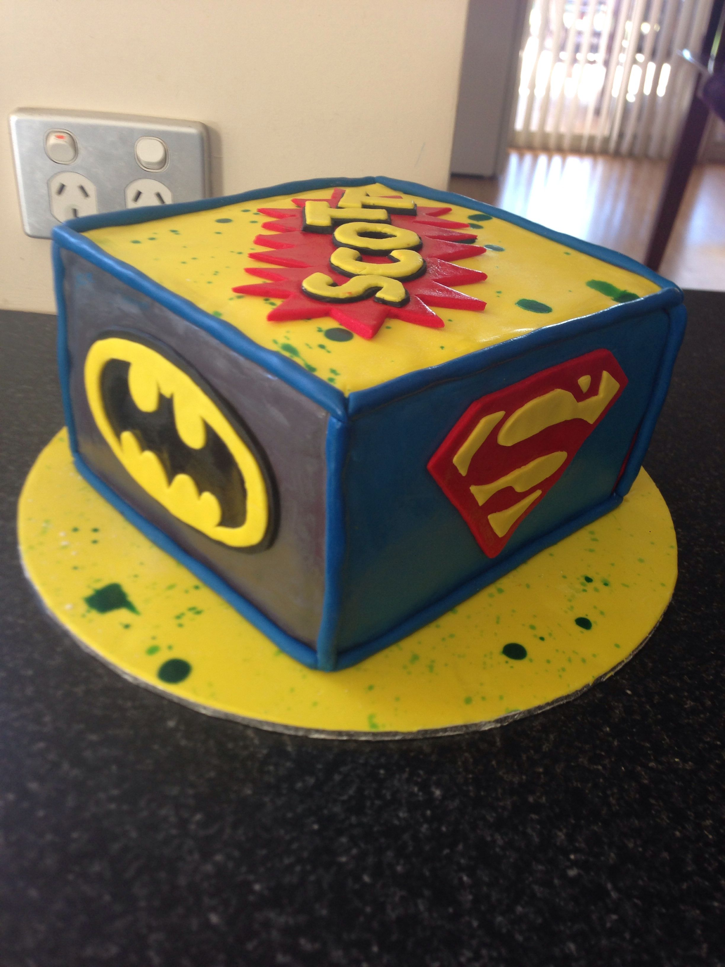 Super Hero Cake For 6 Year Old Boy With Images Monster 1st