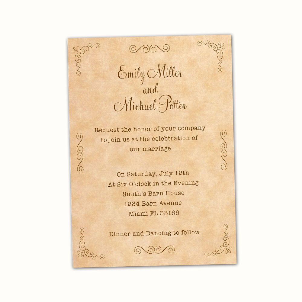 Details about 3 Personalized Wedding Invitation Cards Vintage